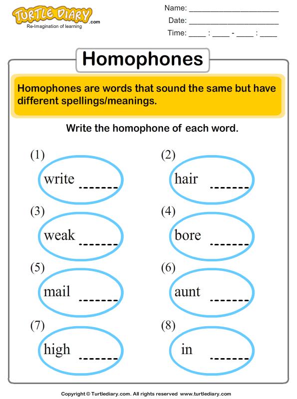 Choose the correct homophone - TurtleDiary.com