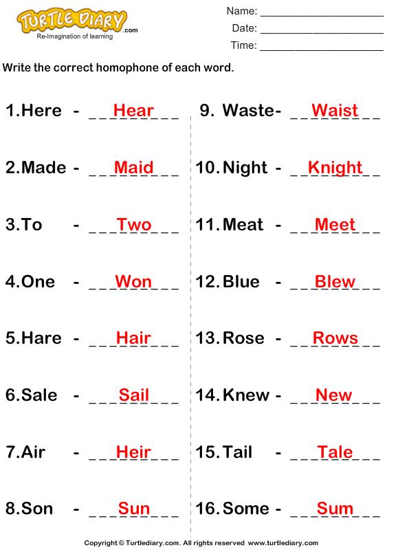 Write the homophone(s) of words - TurtleDiary.com