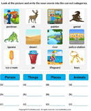 Sort nouns as person, place, animal or thing 2