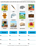 Sort nouns as person, place, animal or thing 3