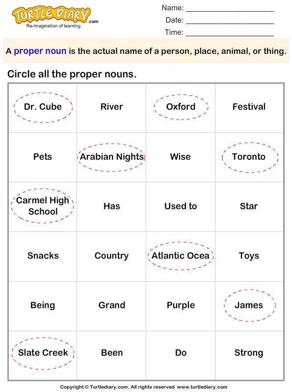 circle the proper nouns. Black Bedroom Furniture Sets. Home Design Ideas