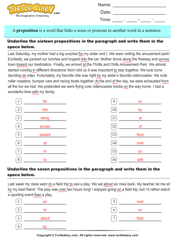 Underline prepositions in the paragraph Answer