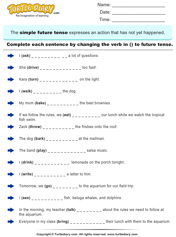 Change The Verbs To Future Tense Form 2 Worksheet - TurtleDiary.com