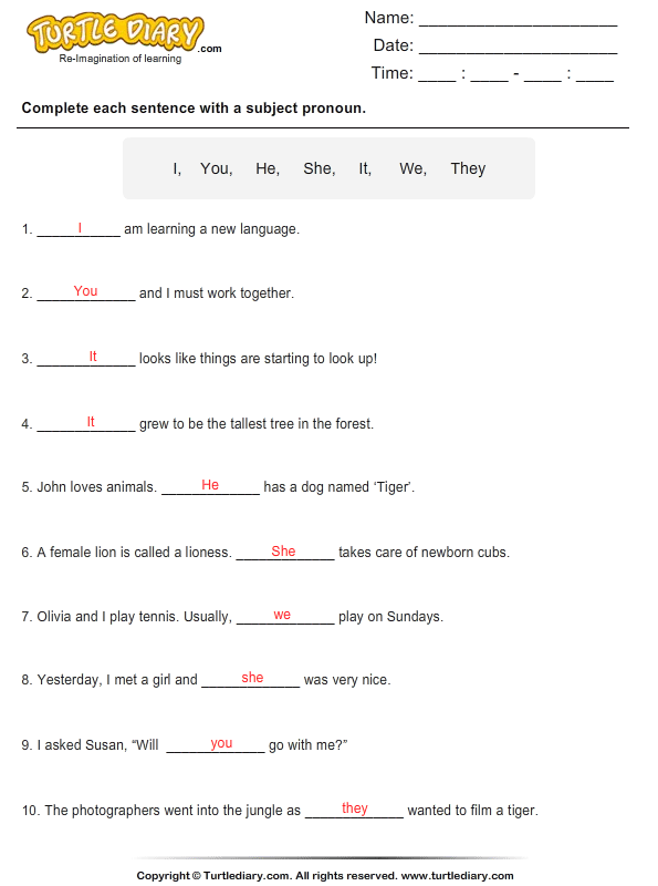 Complete the sentence with a subject pronoun Answer