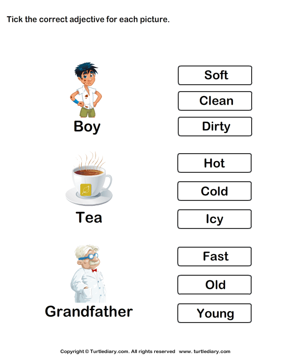 Adjectives worksheets for kindergarten