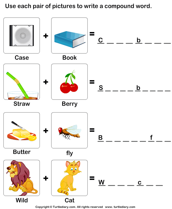 Free printable compound words worksheets for kindergarten