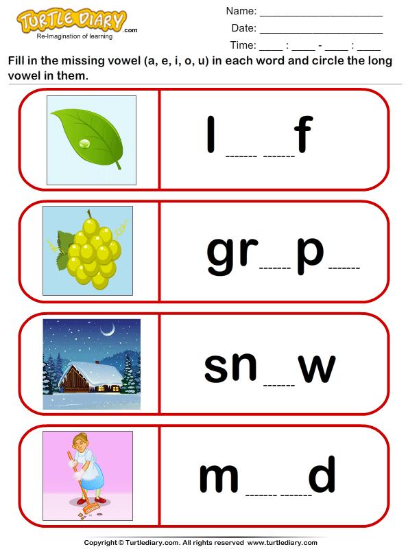 Circle the long vowel - TurtleDiary.com