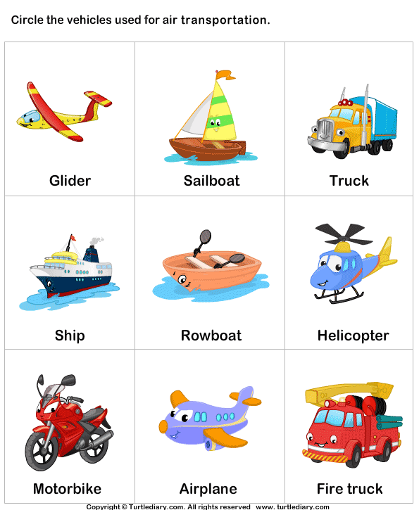 ... Transport Pictures For Kids air transport worksheet 2 - turtle diary
