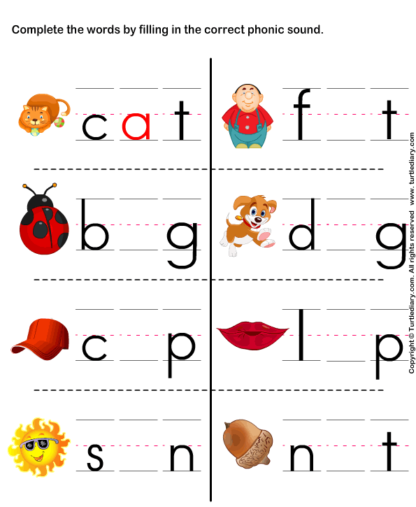 Kindergarten Phonics Worksheets Fill in the correct phonic