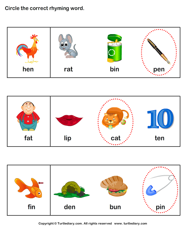 Identify words that rhyme Answer
