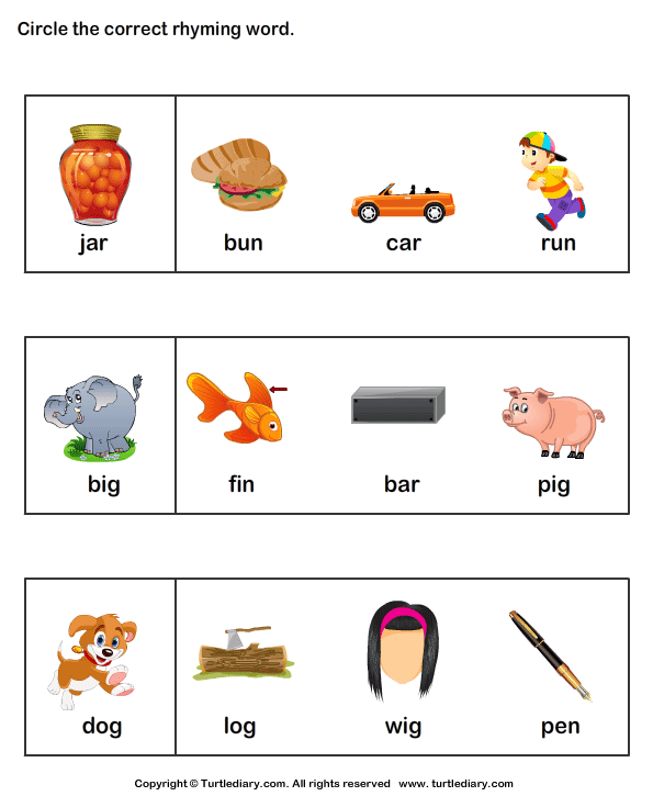 preschool reading readiness. printable activity worksheets Rhyming ...