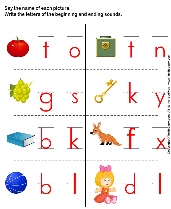 Write The Letter Of Beginning And End Sound Worksheet 2 - Turtle Diary