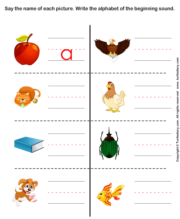 Write the letter of beginning sound Worksheet - Turtle Diary