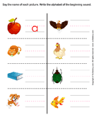Write the letter of beginning sound - phonics - Kindergarten