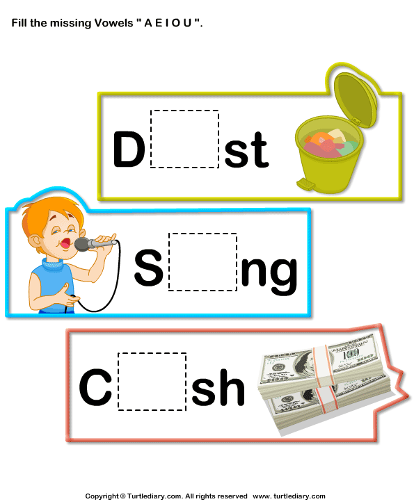 Fill in the missing vowel - TurtleDiary.com