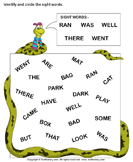Identify sight words 20