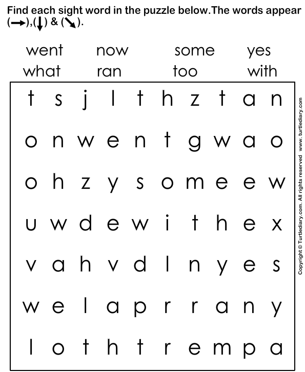 5 Sight kindergarten word Worksheet for Words worksheets  Puzzle TurtleDiary.com sight sentences