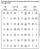 Sight words puzzle - spelling - Kindergarten