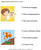 Action verbs: Choose the right sentence 2
