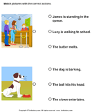 Action verbs: Choose the right sentence 3