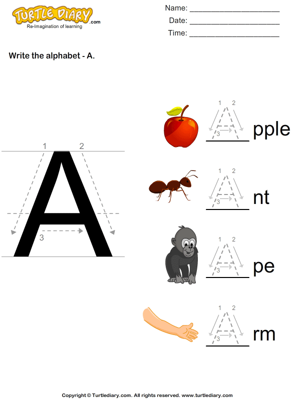 Alphabet - write in upper case (A -Z)