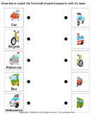 Land transport - match the parts - vocabulary - Preschool