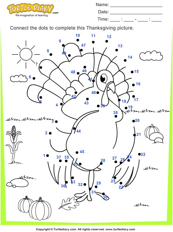 Thanksgiving Dot To Dots Worksheet 1 - Turtle Diary