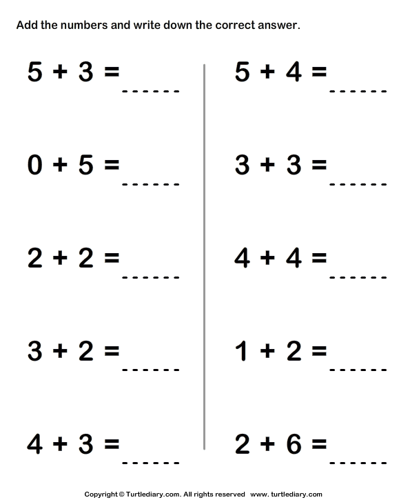 Adding two one-digit numbers - TurtleDiary.com
