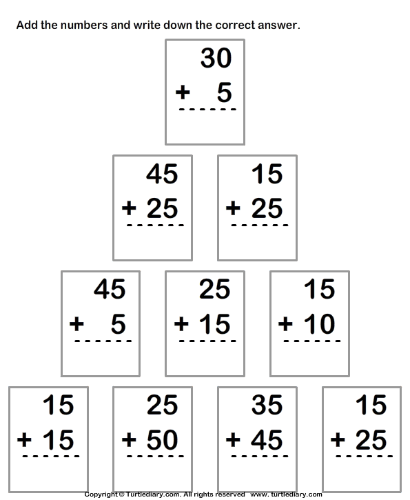 Adding Two Two Digit Numbers Worksheet 2 - Turtle Diary