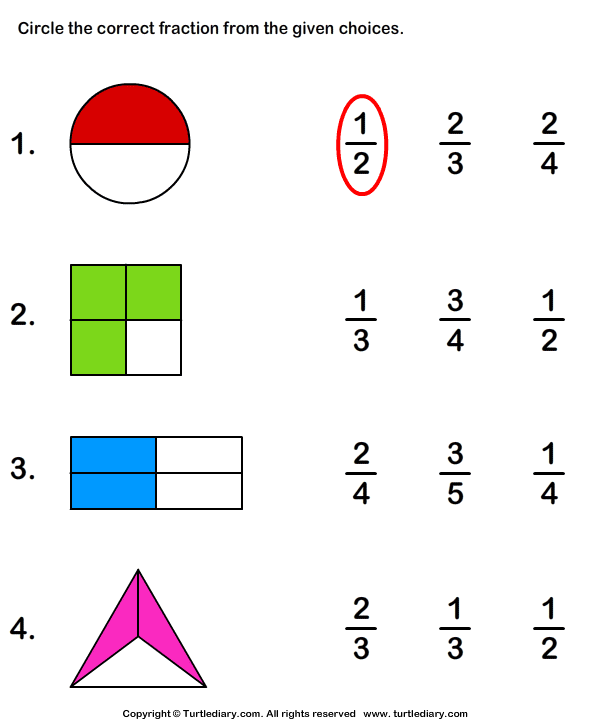 What Fraction Does The Shape Show Worksheet 1 - Turtle Diary