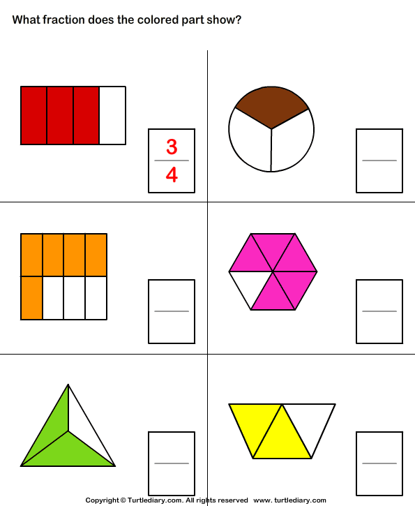 What Fraction Does The Shape Show 10 Worksheet - TurtleDiary.com
