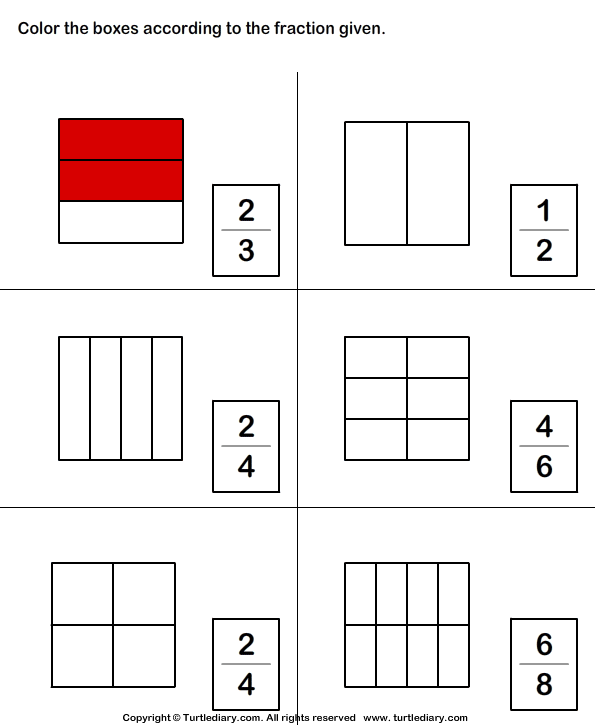 Which Shape Matches The Fraction Worksheet 7 - Turtle Diary
