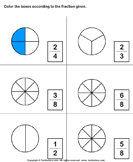Which shape matches the fraction? 5
