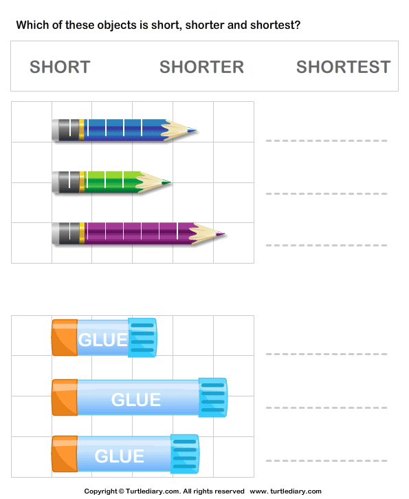 Comparing length of objects - TurtleDiary.com