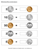 Equivalent amount with same currency - money - First Grade
