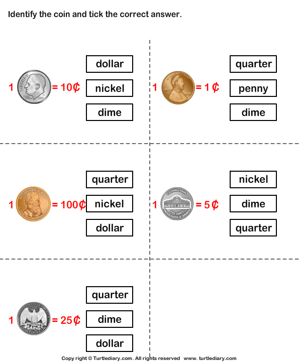 Name and value of coins