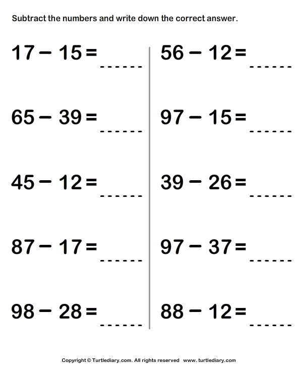 Subtracting From Two Digit Number 5 Worksheet - TurtleDiary.com