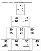 Subtracting from two-digit number - subtraction - First Grade