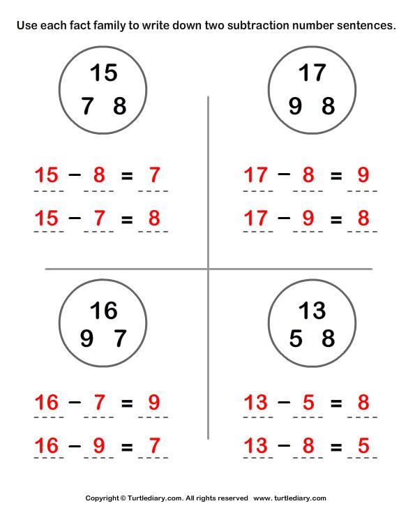 subtraction sentence