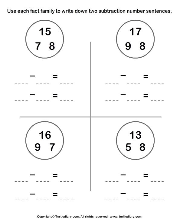 subtraction sentences worksheet 1 turtle diary. Black Bedroom Furniture Sets. Home Design Ideas
