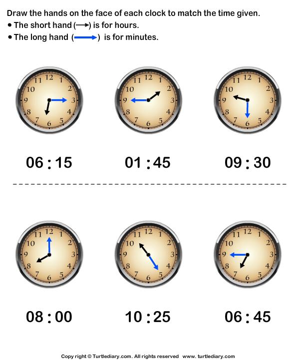 Clock Hands Drawing View Worksheet Print