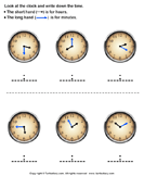 Reading clock - date-and-telling-time - First Grade