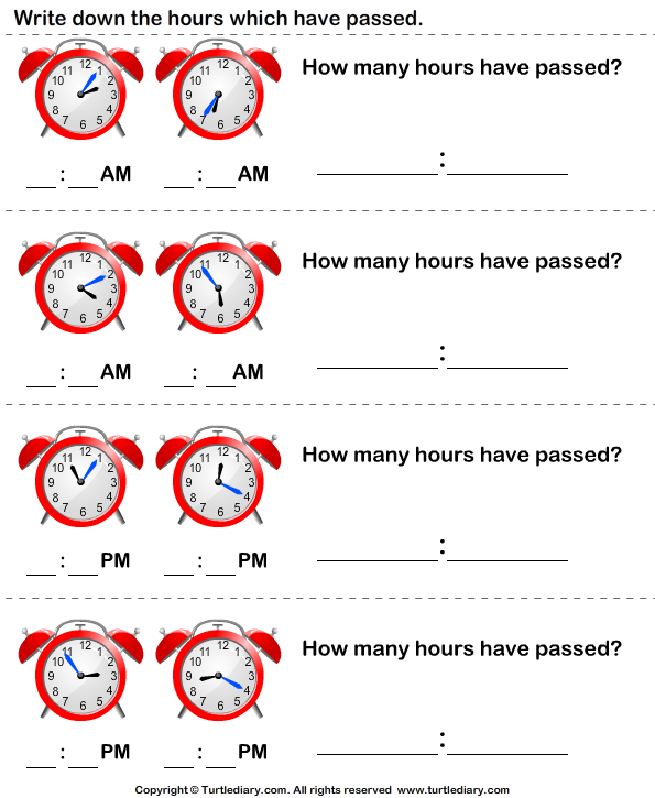 Elapsed Time | Second Grade Math Worksheets | Biglearners