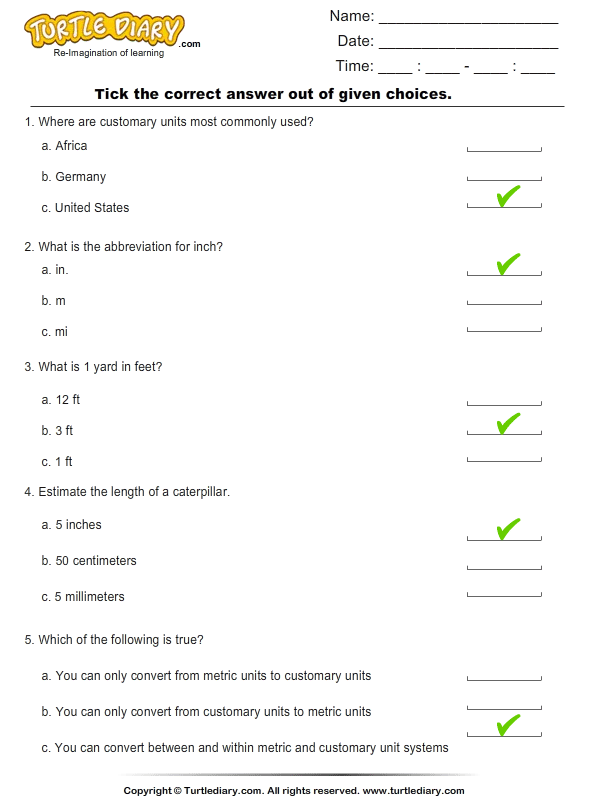 Customary Units : Find the correct option Answer