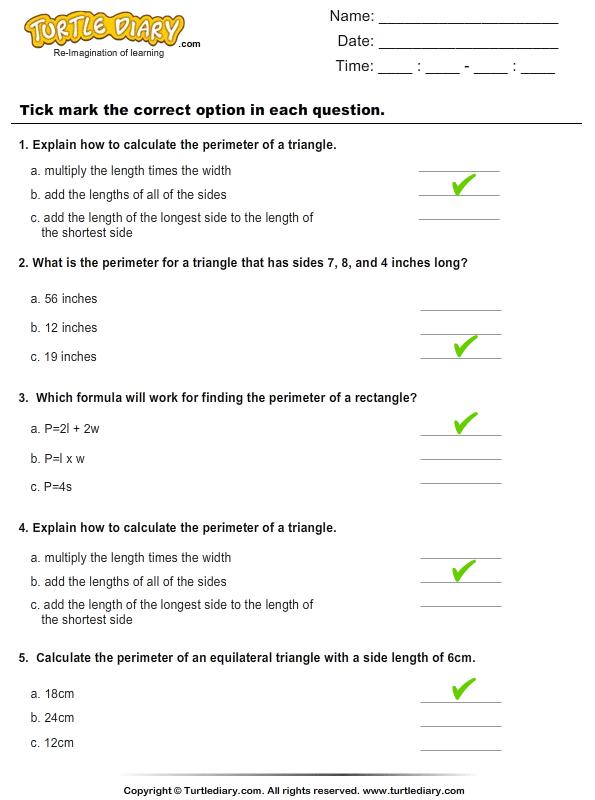 Perimeter : Choose the correct option Answer