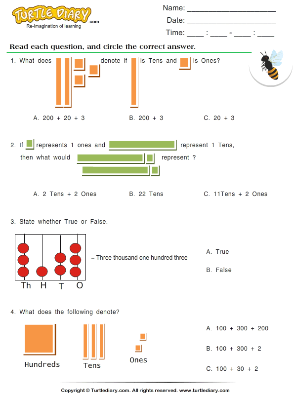Find the place value - TurtleDiary.com