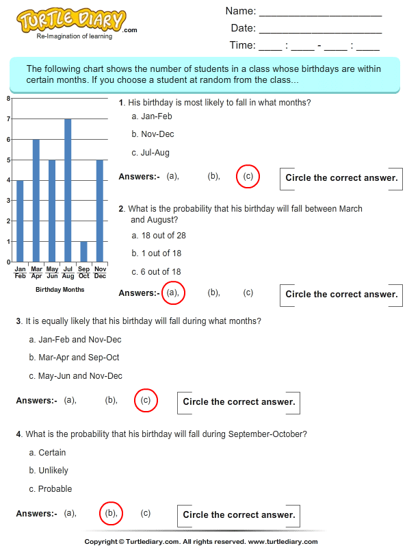 Probability: Multiple choice questions - TurtleDiary.com