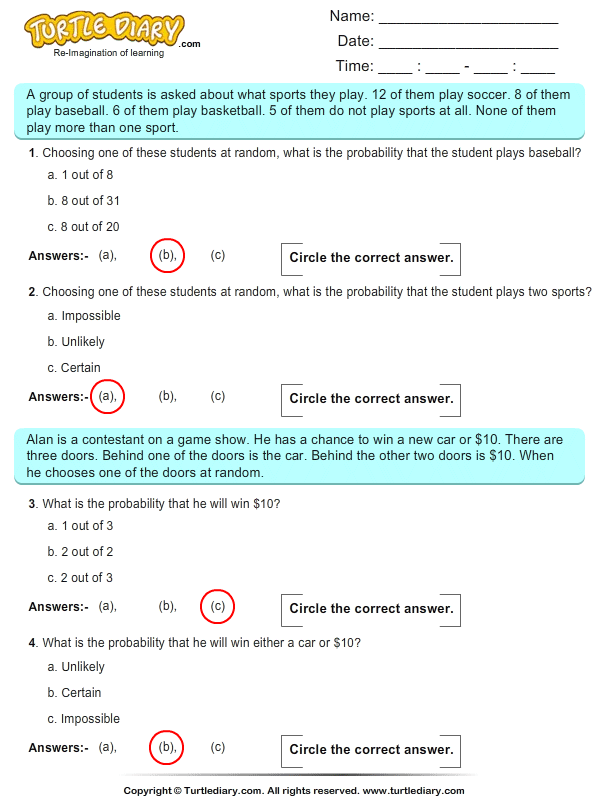 probability multiple choice questions pdf