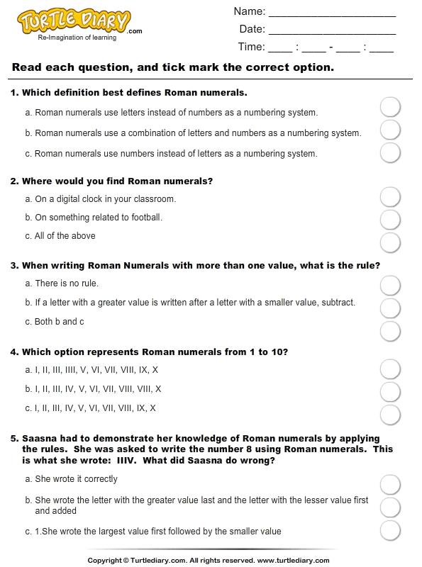 Roman Numerals (I - XX) : Multiple choice questions