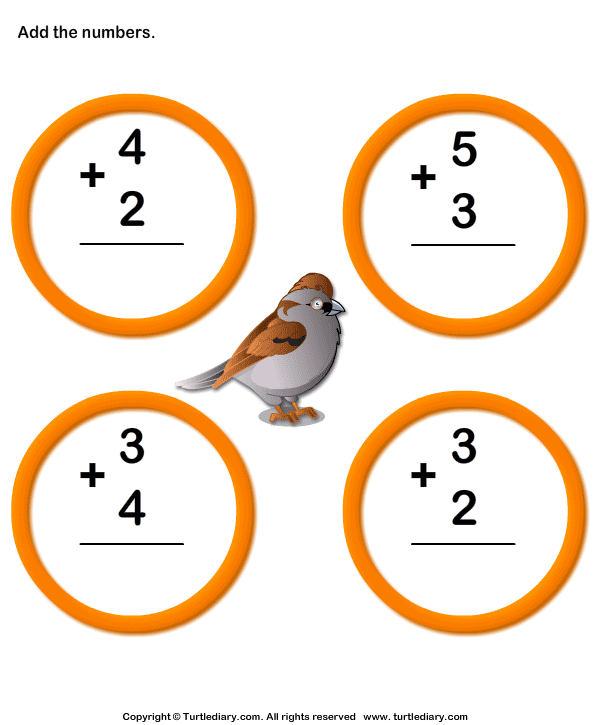 Add One Digit Numbers Worksheet 6 - Turtle Diary